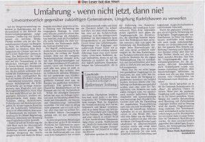 Hallertauer Zeitung vom 28.04.2016 Leserbrief von Bruno Stahl, Rudelzhausen Gemeinderat