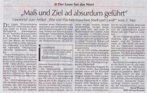 Leserbrief HZ vom 12.5.18 Flächenverbrauch Bernd Wimmer